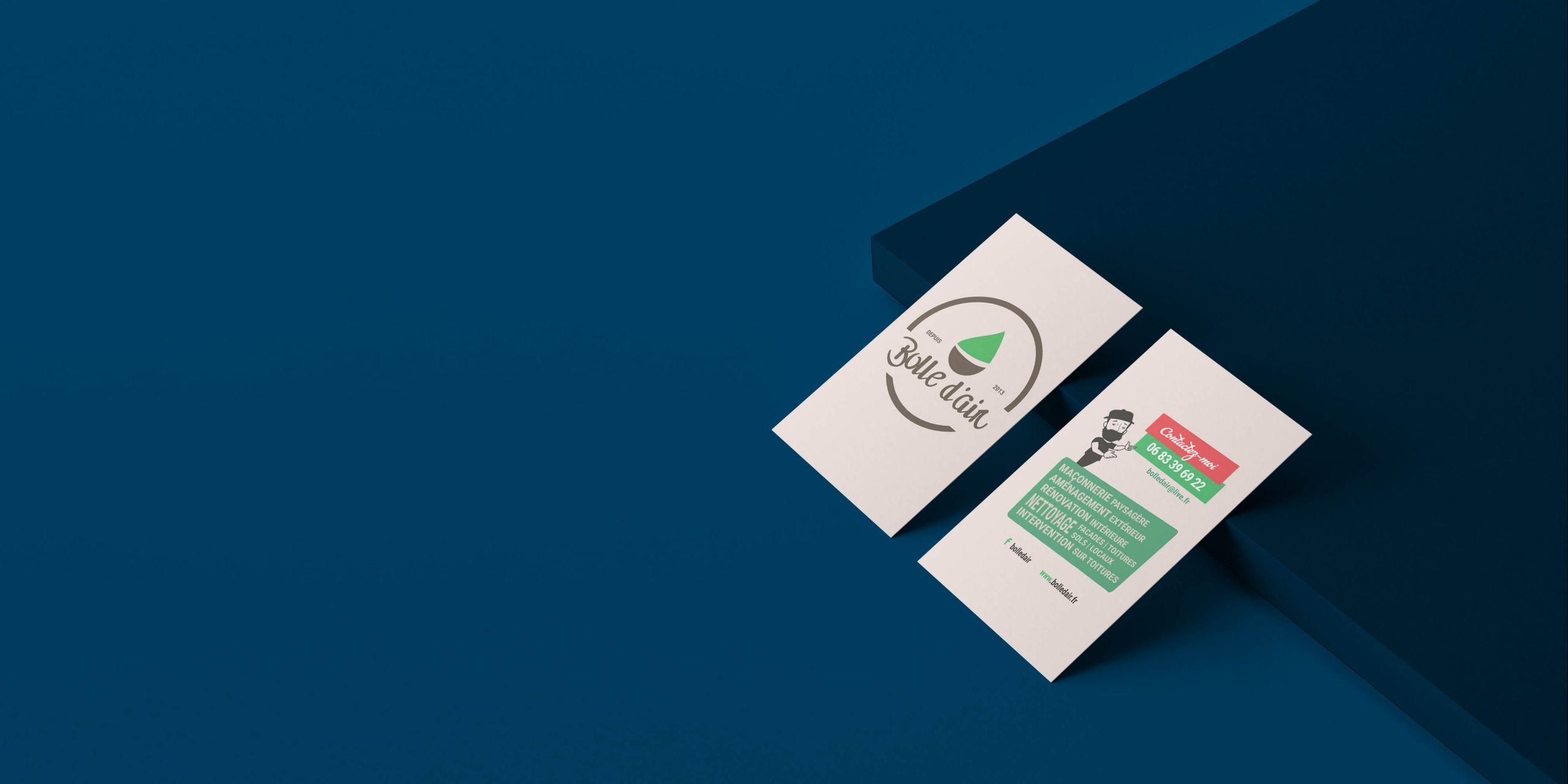 Création des cartes de visite bolle d'air paysagiste par inu Média dans le Doubs
